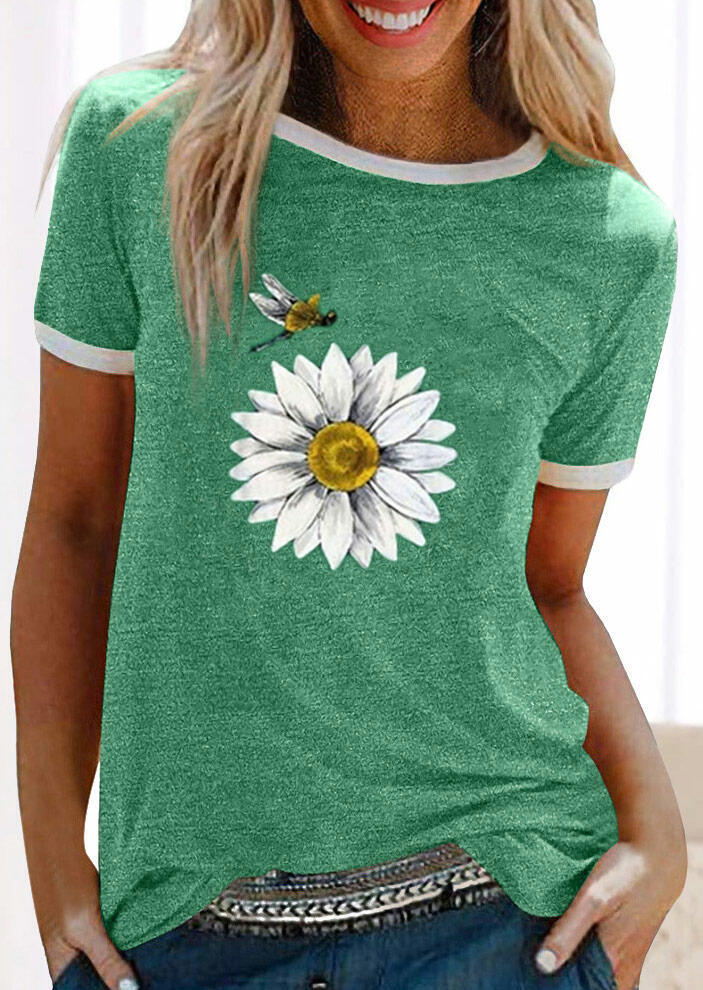 Sunflower And Dragonfly T-Shirt Tee - Green фото