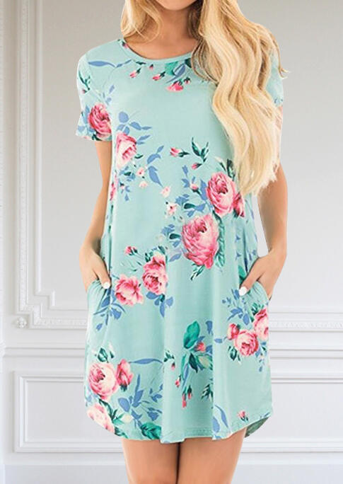 Mini Dresses Floral O-Neck Pocket Mini Dress in Black,White,Pink,Deep Blue. Size: S,M,L,XL,2XL фото