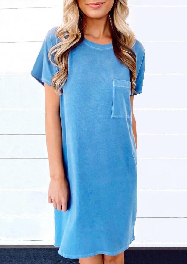 Mini Dresses Pocket O-Neck Mini Dress in Blue. Size: S,M,L,XL
