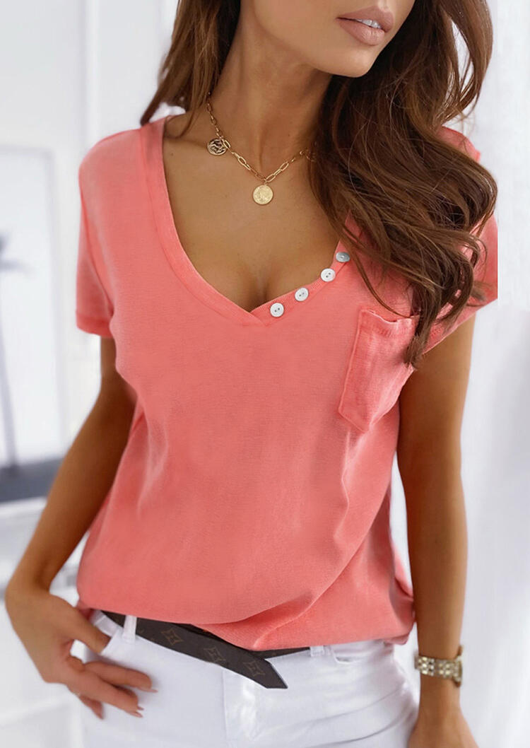 Button Pocket Blouse without Necklace - Watermelon Red фото