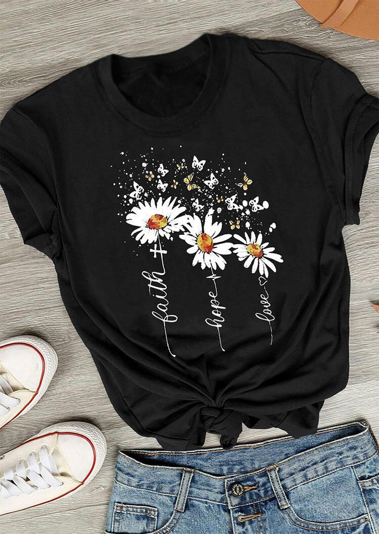 Tees T-shirts Faith Hope Love Cross Daisy Butterfly T-Shirt Tee in Black. Size: S,M,L,XL,2XL,3XL фото