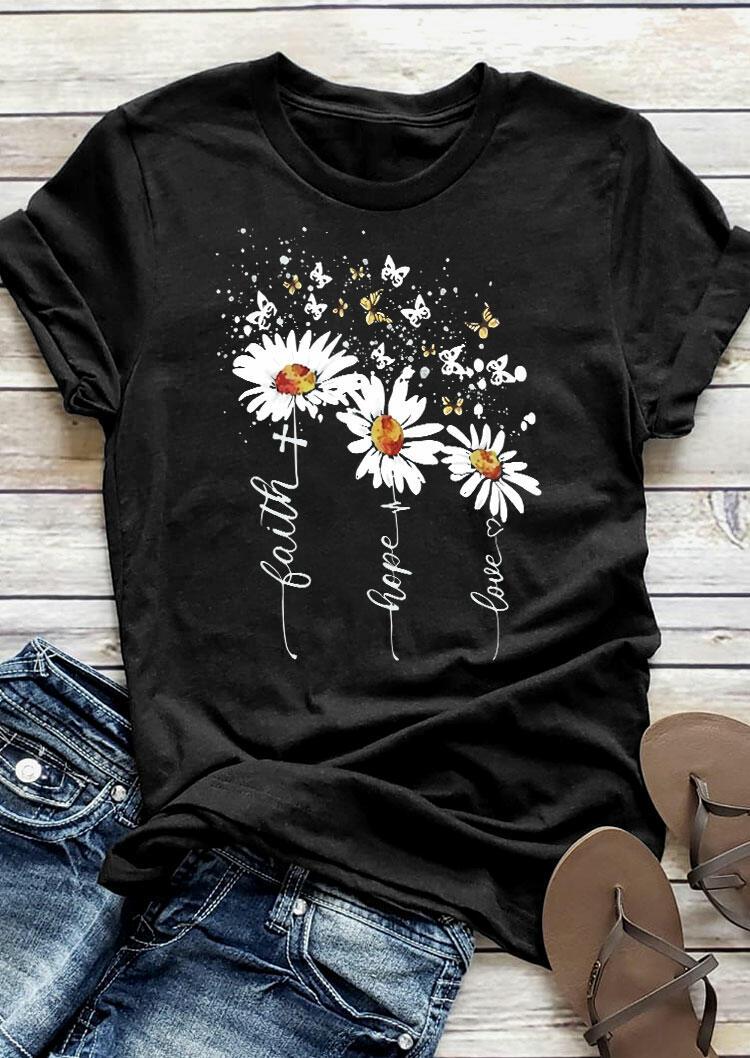 Faith Hope Love Cross Daisy Butterfly T-Shirt Tee - Black
