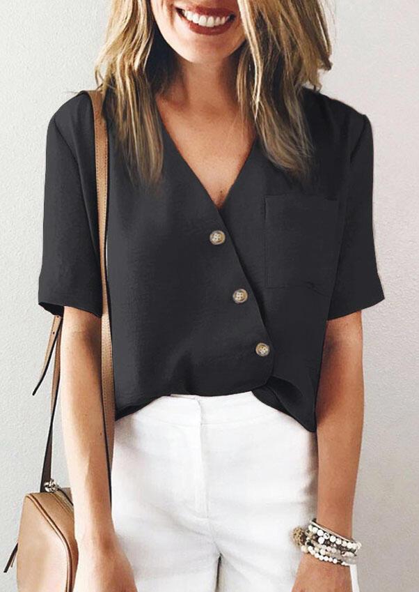 Button Wrap Pocket V-Neck Blouse - Black фото