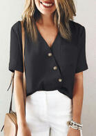 Button Wrap Pocket V-Neck Blouse