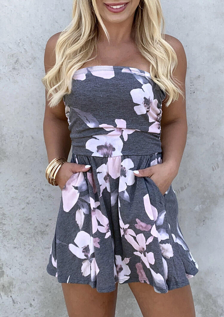 Jumpsuits & Rompers Floral Ruffled Pocket Strapless Open Back Romper in Gray. Size: S,M,L,XL,2XL,3XL фото