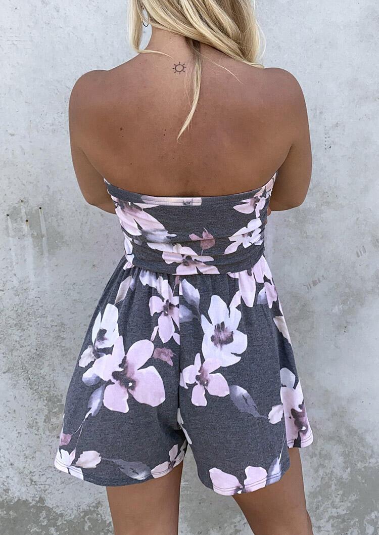 Floral Ruffled Pocket Strapless Open Back Romper - Gray