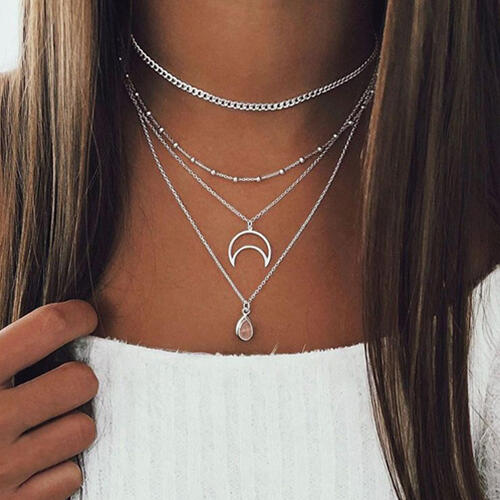 Necklaces Moon Crescent Water Drop Pendant Multi-Layered Necklace in Gold,Silver. Size: One Size фото