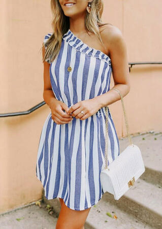 Striped Ruffled OneShoulder Mini Dress without Necklace