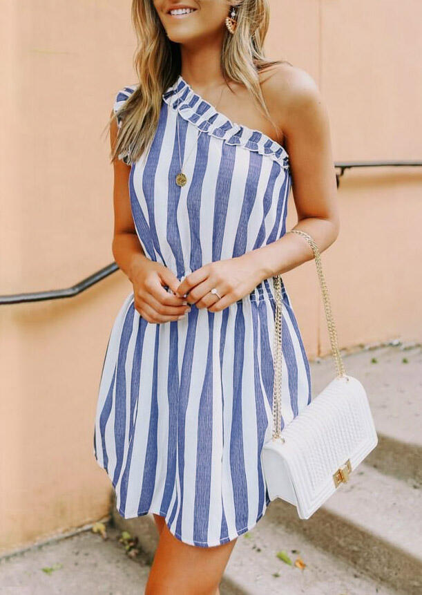 Mini Dresses Striped Ruffled OneShoulder Mini Dress without Necklace in Stripe. Size: S,M,L фото