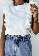 Ruffled O-Neck Blouse