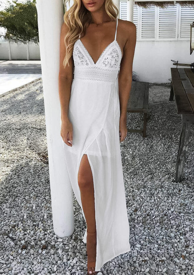 Lace Splicing Slit Tie Spaghetti Strap Maxi Dress - White фото