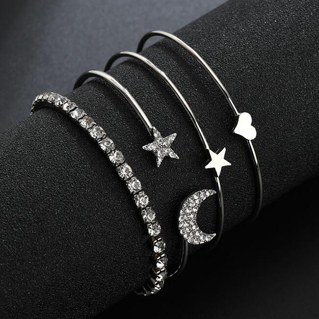 4Pcs Moon Star Heart Rhinestone Bracelet фото