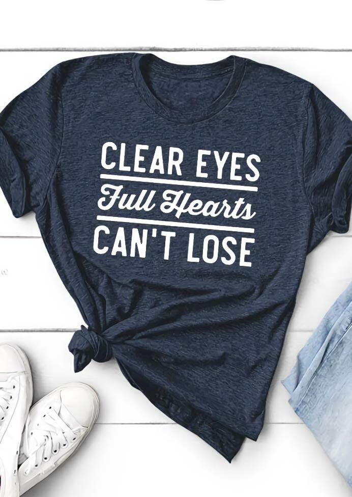 Clear Eyes Full Hearts Can't Lose T-Shirt Tee - Navy Blue фото
