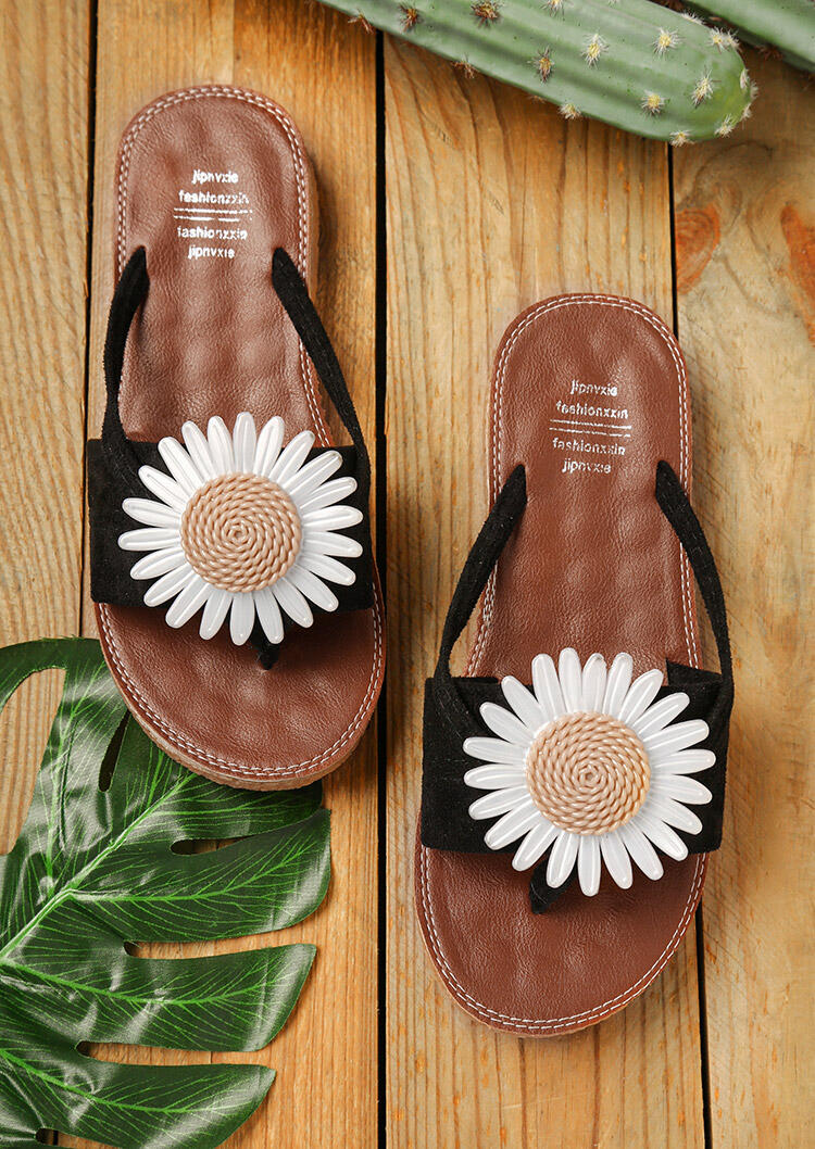 Slippers Summer Daisy Round Toe Flip Flop Slippers in Black. Size: 37,39 фото