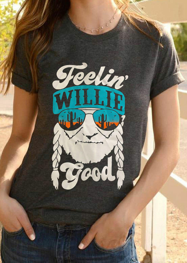Tees T-shirts Feelin' Willie Good Cactus T-Shirt Tee without Necklace in Dark Grey. Size: S,M,L,XL фото