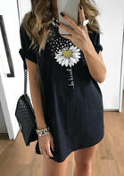 Bellelily New Arrivals Be Kind Daisy Mini Dress Black