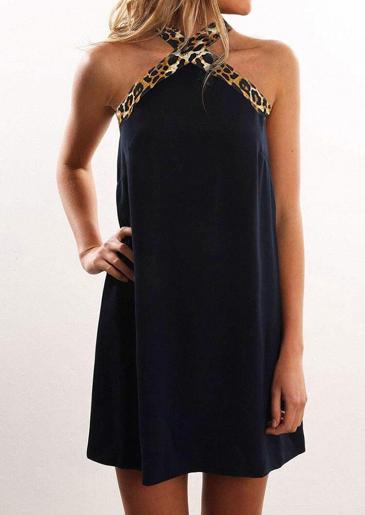 Mini Dresses Leopard Splicing Criss-Cross Halter Mini Dress in Deep Blue. Size: S,M,L,XL фото