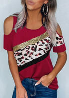 Leopard Sequined Splicing Cold Shoulder Blouse