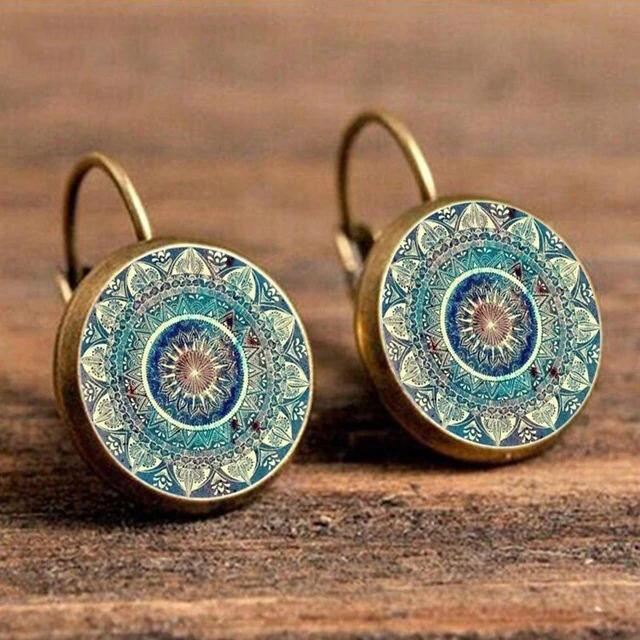 Earrings Vintage Mandala Floral Stud Earrings in Gold,Silver. Size: One Size фото