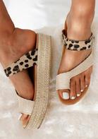 Leopard Buckle Strap Platform Slippers