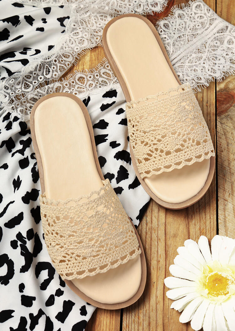 Slippers Lace Hollow Out Round Toe Flat Slippers in Light Khaki. Size: 36,37,38,39 фото