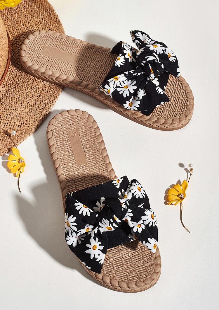 Daisy Bowknot Round Toe Slippers - Black фото