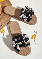 Daisy Bowknot Round Toe Slippers