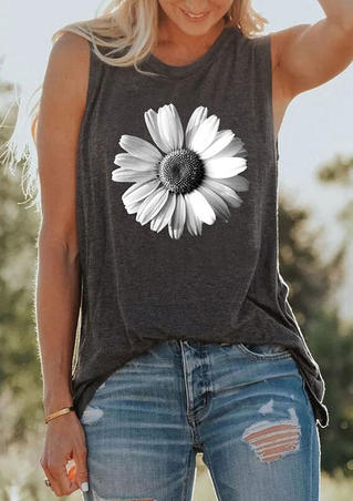 Daisy O-Neck Tank - Dark Grey