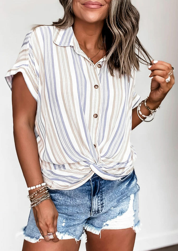 Striped Twist Button Shirt without Necklace фото
