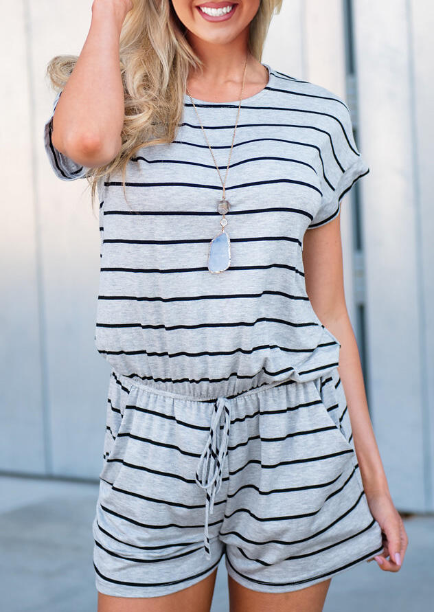 Striped Splicing Drawstring Pocket Romper without Necklace фото