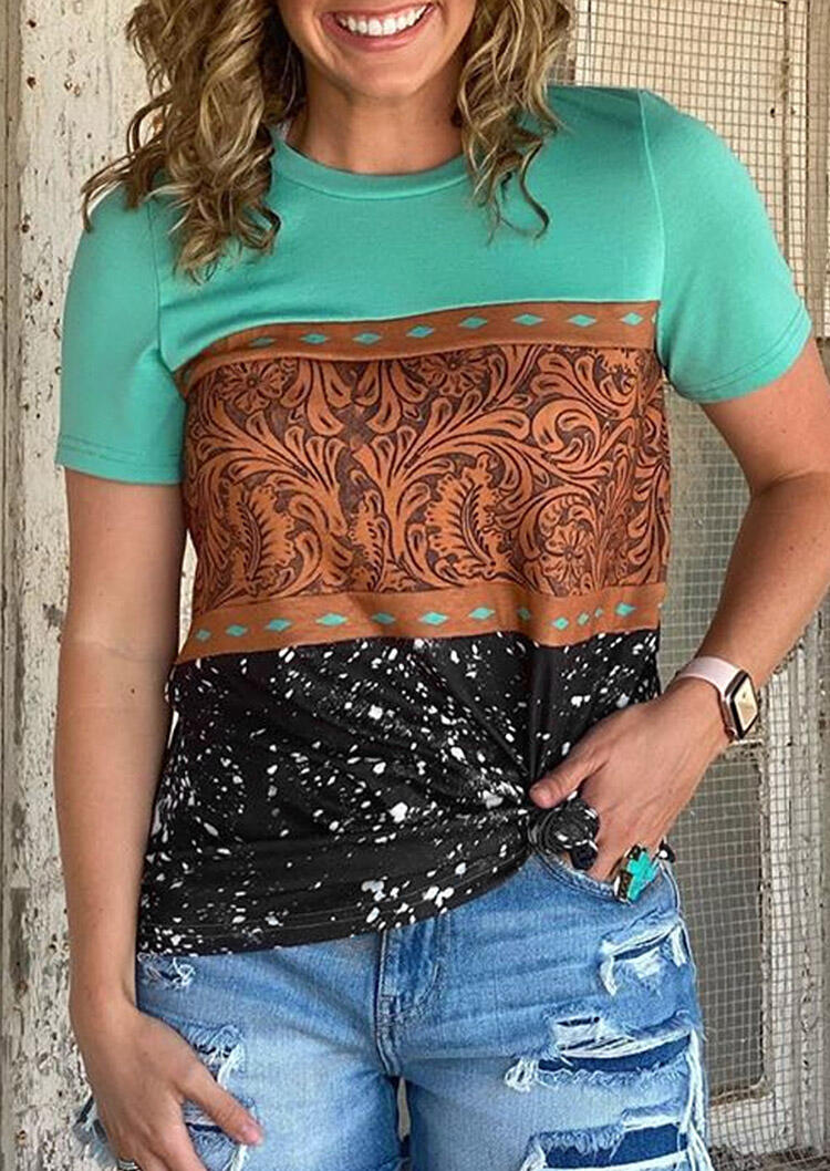 Tees T-shirts Buckstitch Starry Sky Splicing T-Shirt Tee in Multicolor. Size: S,M,L,XL фото