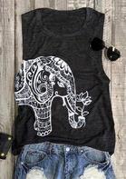 Mandala Elephant Casual Tank - Dark Grey