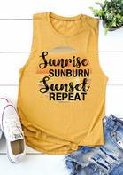 Sunrise Sunburn Sunset Repeat Tank - Yellow