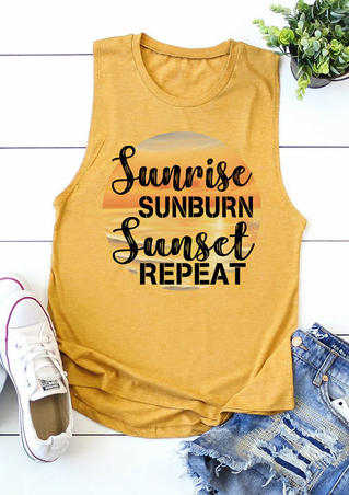 Sunrise Sunburn Sunset Repeat Tank - Yellow