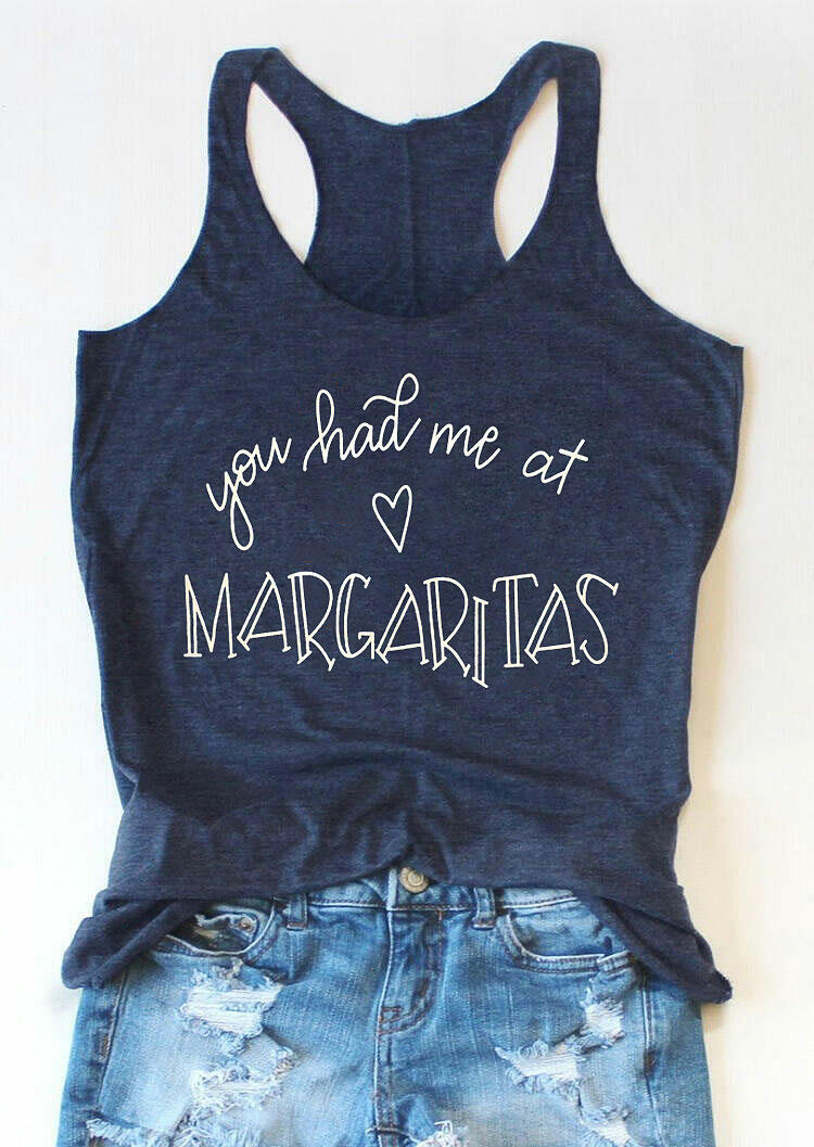 Tank Tops You Had Me At Margaritas Heart Tank in Navy Blue. Size: S,M,XL фото
