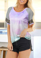 Tie Dye Leopard Striped Splicing T-Shirt Tee