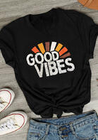 Good Vibes V-Neck T-Shirt Tee