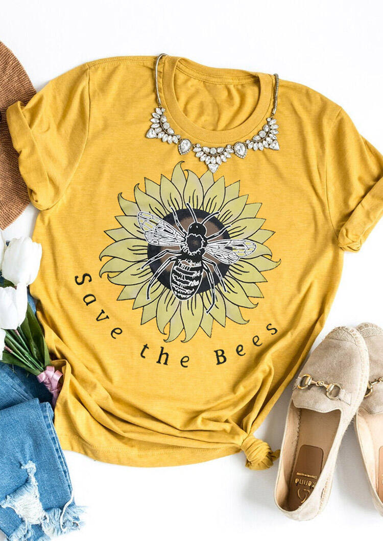 Tees T-shirts Save The Bees Sunflower T-Shirt Tee without Necklace in Yellow. Size: M фото