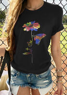 Colorful Daisy Butterfly Let It Be T-Shirt Tee