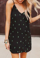 Cactus Tie Spaghetti Strap Mini Dress