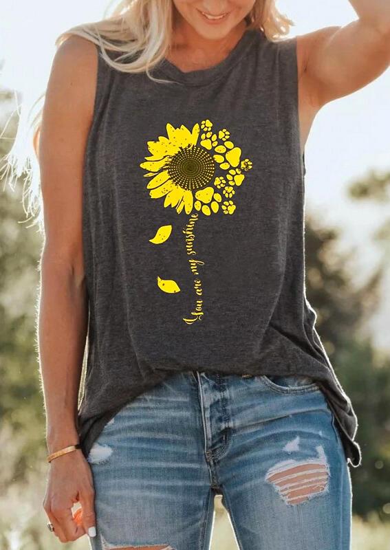 You Are My Sunshine Sunflower Tank - Dark Grey фото