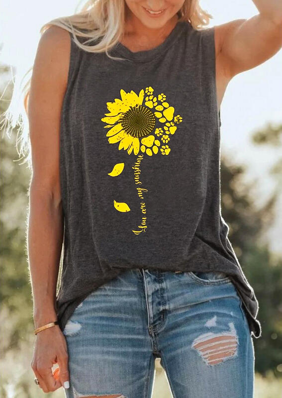 Tank Tops You Are My Sunshine Sunflower Tank in Dark Grey. Size: S,M,L,XL фото