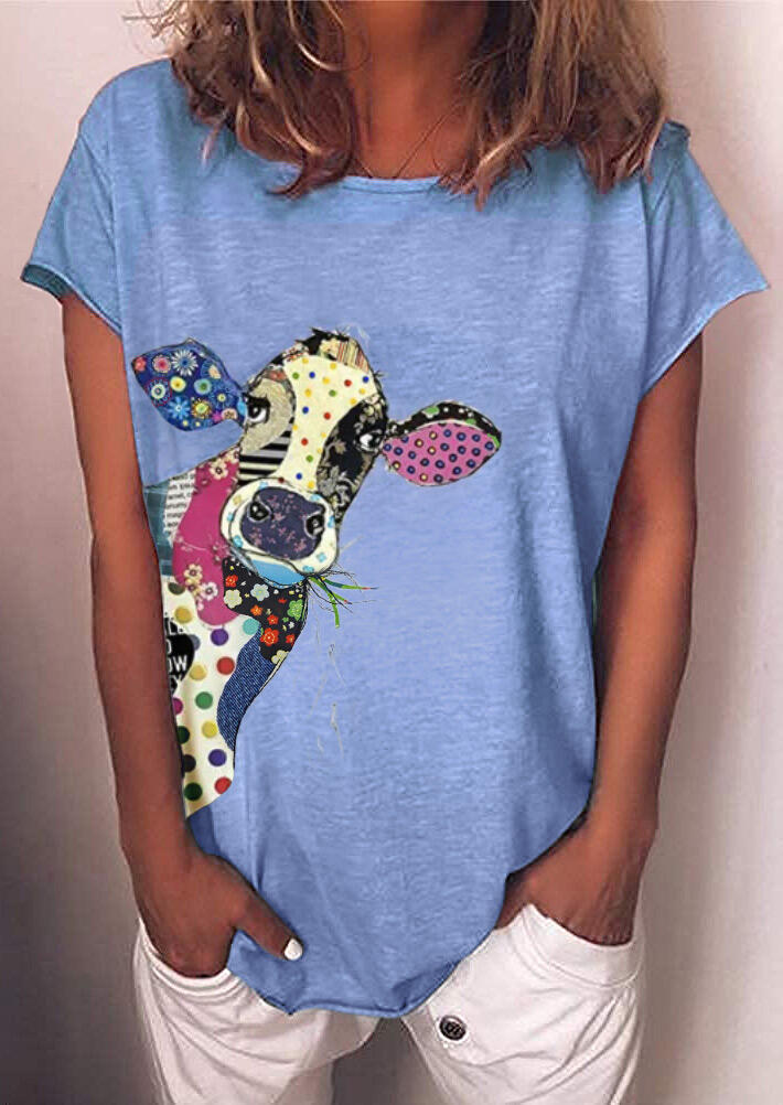 Cow Striped Polka Dot Floral T-Shirt Tee without Necklace - Blue фото