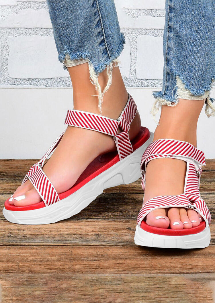 Striped Hollow Out Round Toe Wedged Sandals - Red фото