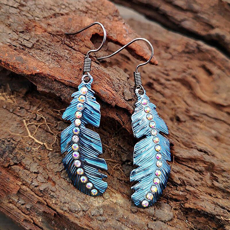 Earrings Bohemian Rinestone Feather Pendant Earrings in Blue. Size: One Size фото