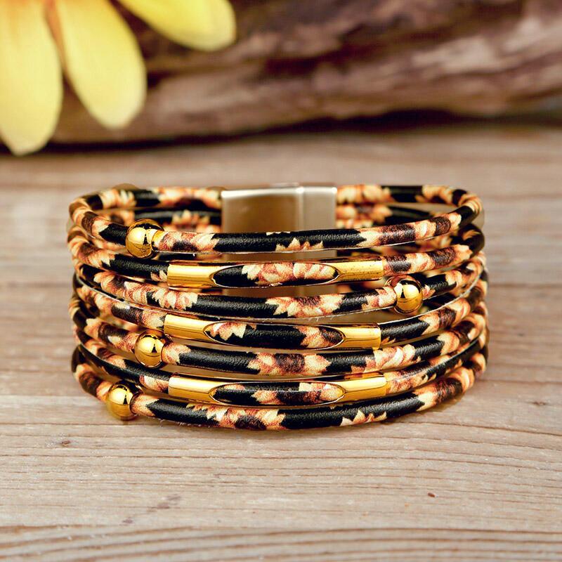 Sunflower Multi-Layered Leather Wrap Bracelet фото