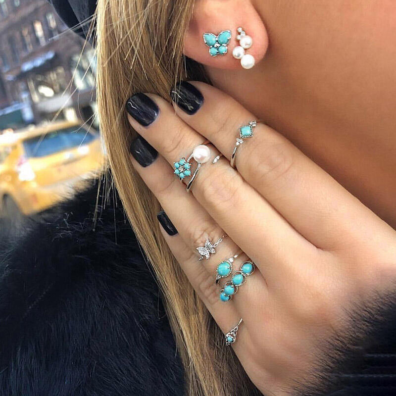 8Pcs Bohemia Turquoise Pearls Vintage Ring And Stud Earrings Set фото