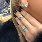 8Pcs Bohemia Turquoise Pearls Vintage Ring And Stud Earrings Set