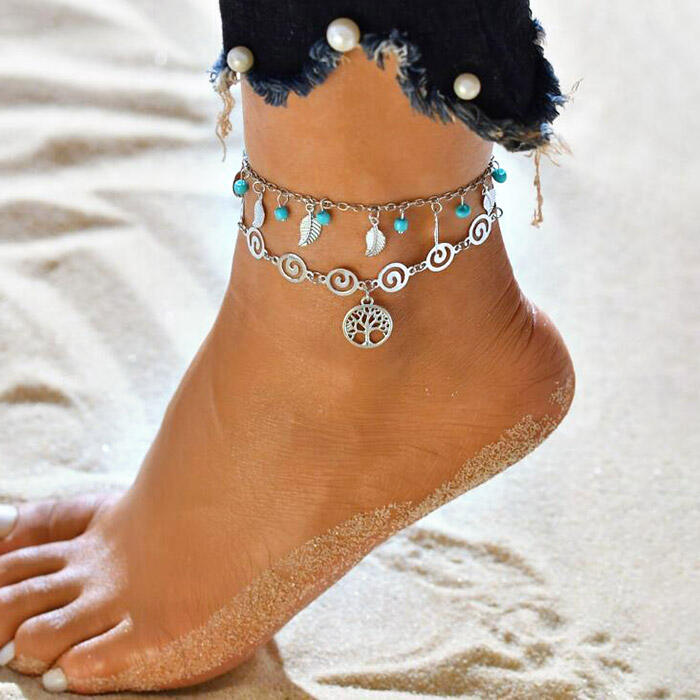 Hollow Out Tree Leaf Bead Pendant Dual-Layered Anklet фото