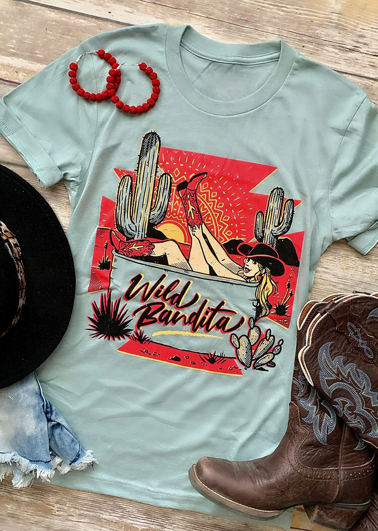 Tees T-shirts Wild Bandita Cactus T-Shirt Tee in Light Blue. Size: S,M,L,XL фото